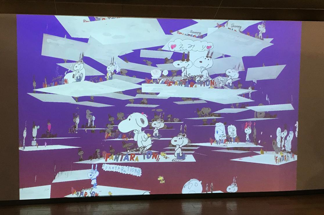 お絵かきシートに自分で描いた絵が、 立体で動きながらスクリーンに映し出される参加型展示コーナ